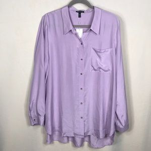 NWT Eileen Fisher 100% Silk Classic Collar Shirt